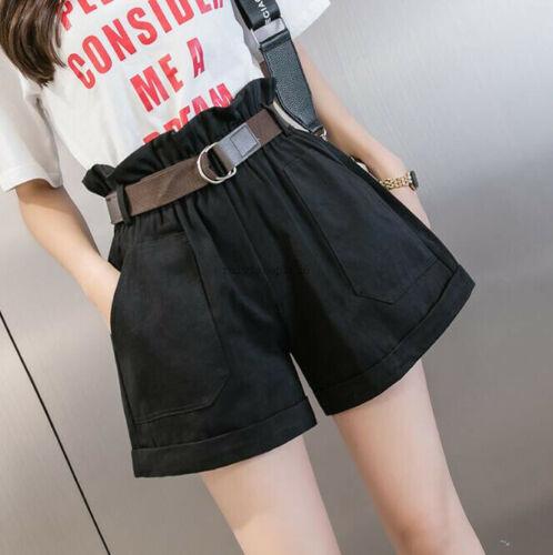New Summer College Femmes à Volants élastique taille haute Casual Loose Shorts Hot Pants