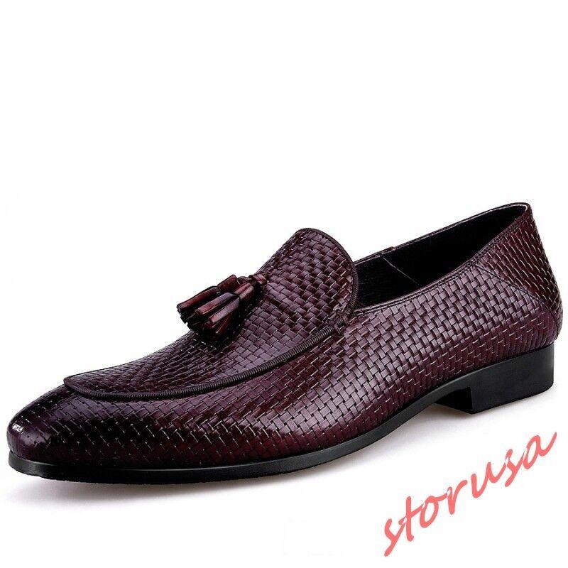 Mens England genuine Leather Woven Tassel Slip On Business Dress Wedding shoes