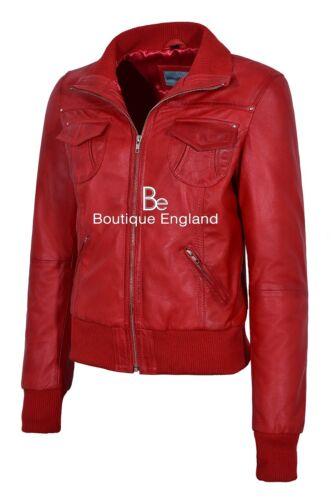 Napa Veste 3758 100 Bomber Rouge Femme Lambskin Biker Classique Style P4UPqx