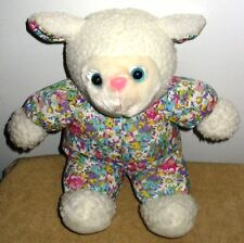 Adorable 12 Inch White Plush Stuffed Lamb in Floral Outfit