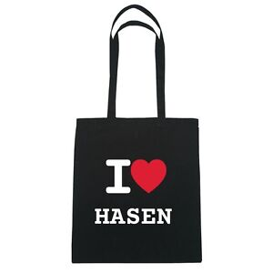 I love HASEN - Jutebeutel Tasche Beutel Hipster Bag - Farbe: schwarz