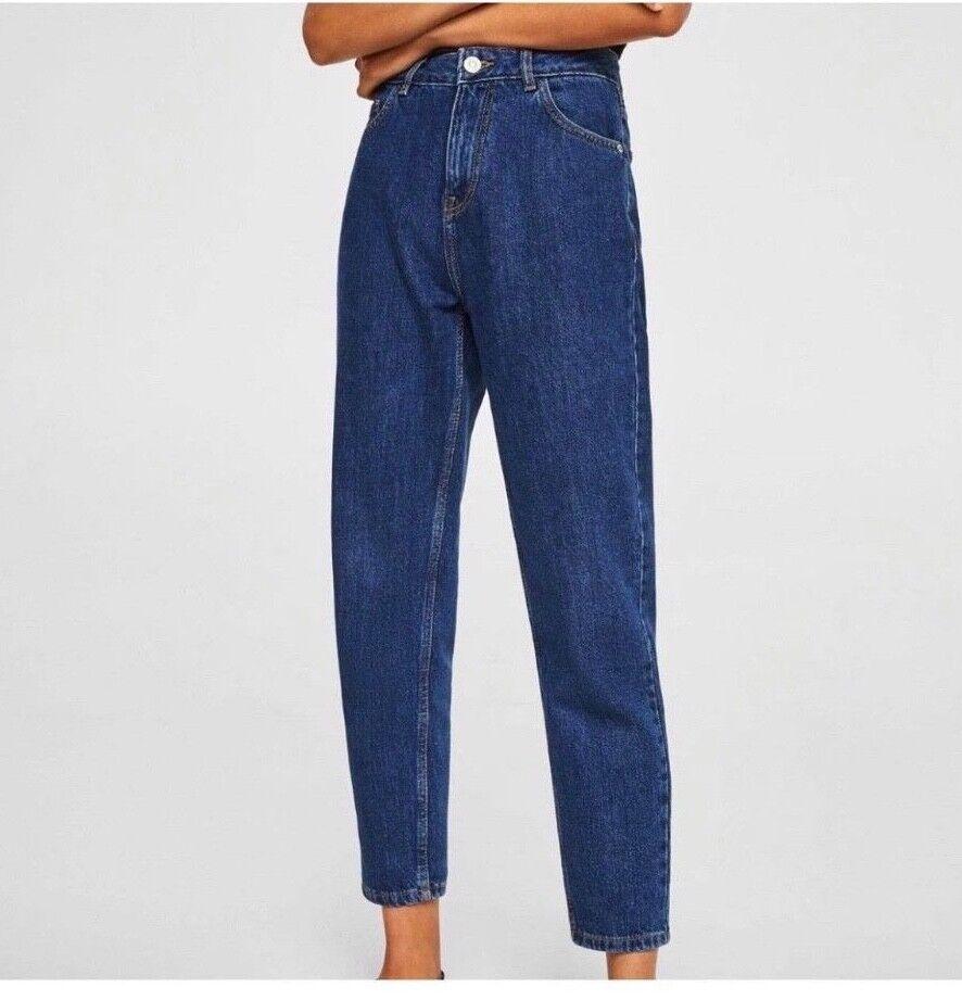 Mango Dark blu Mom Jeans A Vita Alta Pantaloni XS Zara