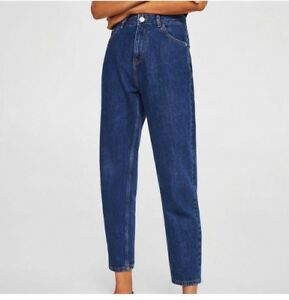 713ad09b Details about Mango dark blue high waisted mom jeans trousers XS zara