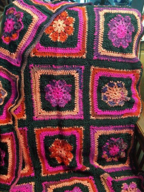 New! Handmade Crochet Blanket Throw Afghan -34x55 - hot pink, black, mango