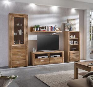 Das Bild Wird Geladen Wohnwand Wohnzimmer Set Schrankwand  Wildeiche Geoelt Teilmassiv 4