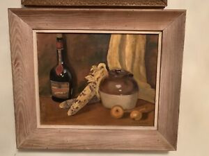 Vintage Oil/Canvas painting still life With bottle, corn, onion, pot, Wood Frame