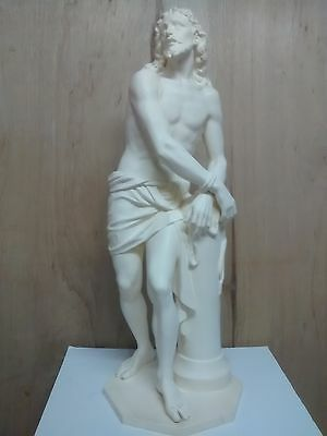 Scourged  Christ Statue 34'' Tall Fiber Glass/ Resin Ivory Finish Made In Spain