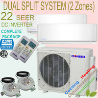 Dual Multi Split 2 Zone Pioneer 21.3 Seer Inverter Mini Split Ductless Heat Pump