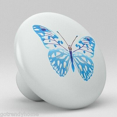 Butterfly Ceramic Knobs Pulls Kitchen Bathroom Closet Drawer Door Cabinet 066