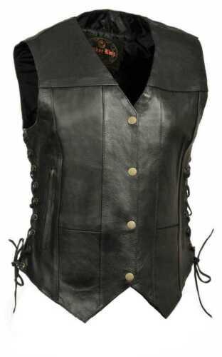Millwaukee Leather Women/'s 6 Pocket Side Lace Vest SH1292