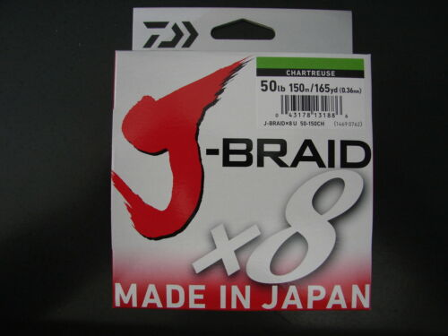 DAIWA J-BRAID X8 BRAIDED FISHING LINE 50 lb 165 YARDS 150M CHARTREUSE 50lb 165yd