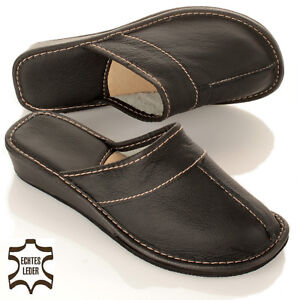 check out 224bd 6b8bd Details zu Elegante Damen Leder Pantoffeln HausSchuhe mit Absatz in schwarz  Gr. 36 - 41 NEU