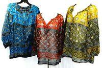Jennifer Lauren Women Plus 1x 2x 3x Sheer Gypsy Cotton Tunic Top Blouse India