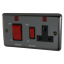 Black Nickel Rounded Edge Volex 45A Cooker Switch with 13A 45 Amp Socket