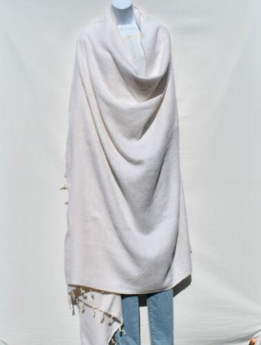 Blanket//Throw Yak Wool Blend Nepal Handmade Over-SizedWhite /& Ivory
