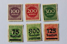 Antique German Weimar Republic, 6 stamps, March-April 1923 Germany