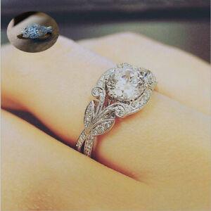 Gorgeous-Round-White-Topaz-Leaf-Princess-Wedding-Promise-Jewelry-Ring-925-Silver