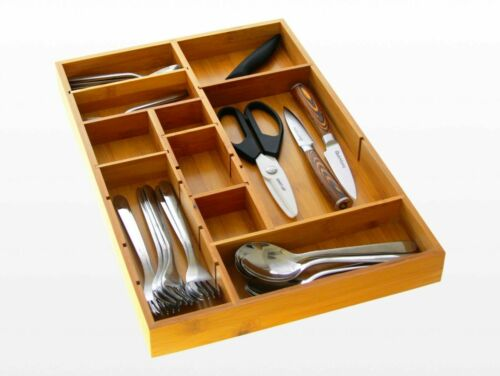 Kitchen Cutlery Tray Made of Bamboo Drawer Inserts Organiser