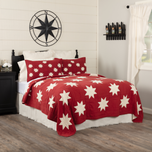 New Primitive Red White Kent LINCOLN STAR PATCHWORK QUILT 3 Pc SET Queen