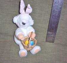 TEDDY BEAR CLIP-ON WHITE BUNNY EARS EASTER EGG BASKET:SOFT-CUDDLY:NORTH AMERICAN