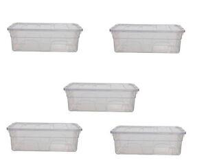 MotivéE 5 X 33 Cm 5 Litres Boîtes De Rangement Plastique Transparent Mini Coffre à Jouets Récipient Empilable-afficher Le Titre D'origine