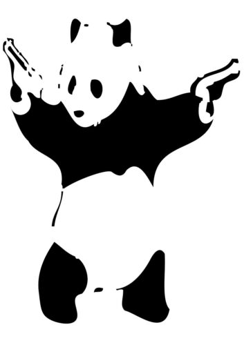 Banksy Street Art Panda with Guns Poster Print A0-A1-A2-A3-A4-A5-A6-MAXI 127