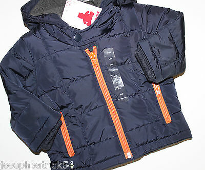 baby Gap NWT Boys WARMEST Navy Blue Winter Coat w Hood & Fleece Lining