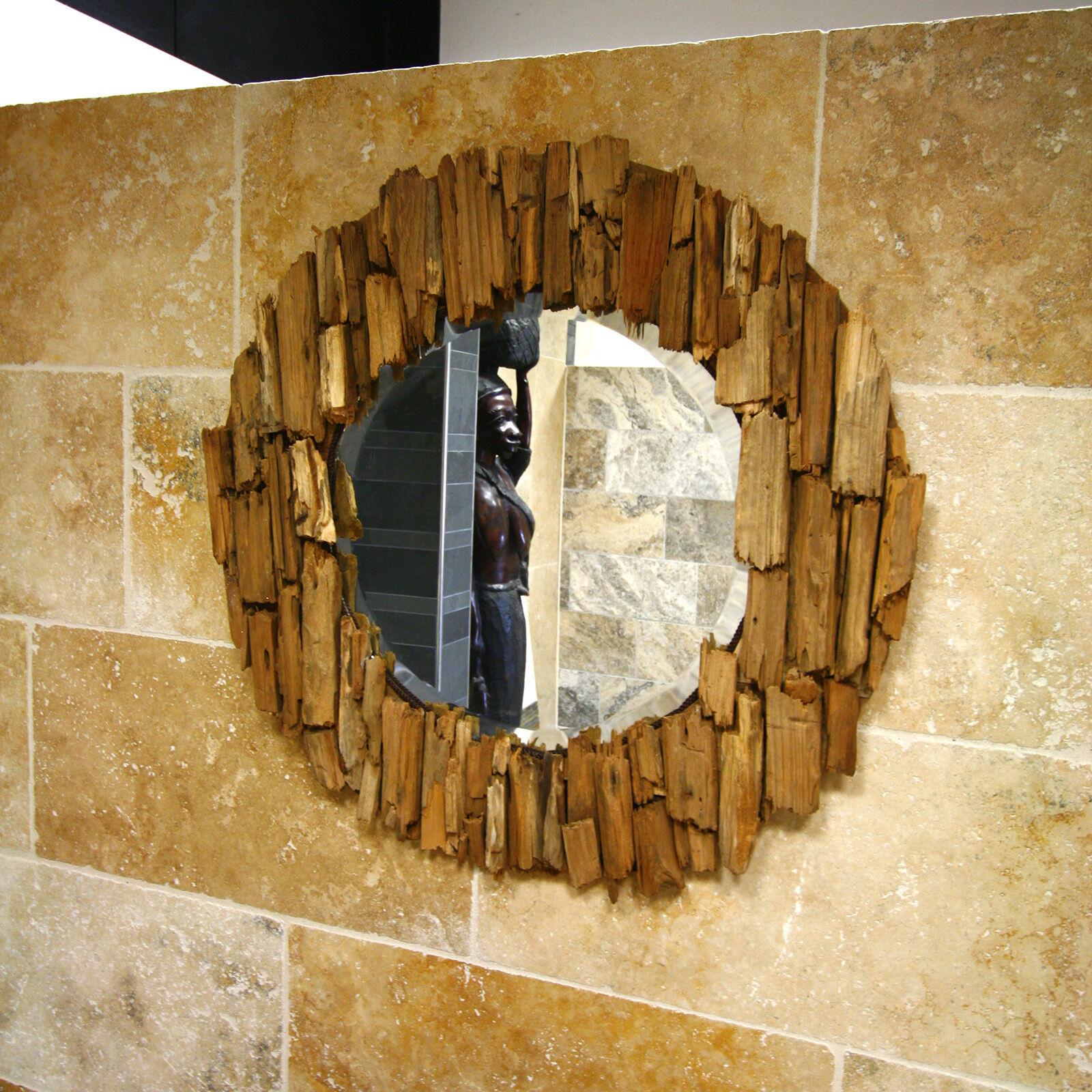 Flurspiegel Wandspiegel rund mit Rahmen aus Teak Altholz handgefertigtes Unikat