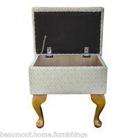 Bespoke Dressing Table Stool In A Woburn Trellis Green Fabric