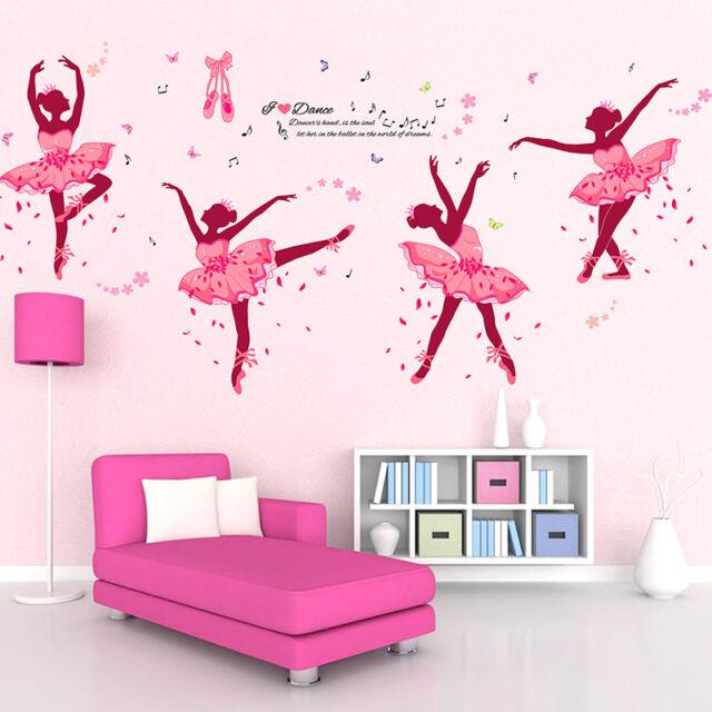 Wall Sticker Pink Ballet Girls Mural Living Room Bedroom Background ...