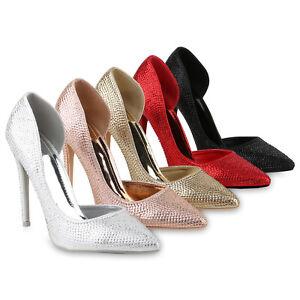 Damen-Spitze-Pumps-High-Heels-Stiletto-Strass-Metallic-Party-Schuh-818220-Schuhe