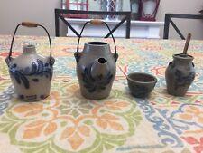 1992 Rowe Pottery Works Salt Glazed Glass Miniature Jugs