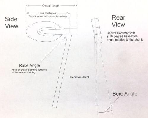 Assortment of 9 Pre-Bored Upright Piano Hammers Fits Baldwin Hamilton /& More