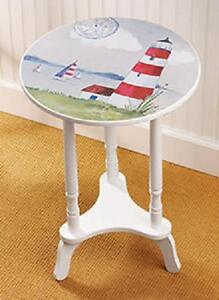 Image Is Loading Lighthouse Beach Nautical Ocean Side End Round Table