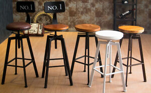 Industrial retro rustic urban style metal bar stool swivel cafe counter chair