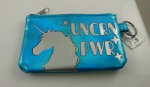 Coin-change-purse-pouch-gift-idea-unicorn-Power-blue-Key-chain-ID-slot