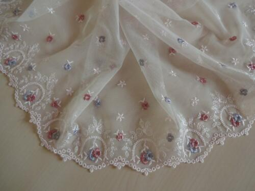 Elastische bestickte Spitze,Lace strech in rose mit rosa und blau 21cm breit