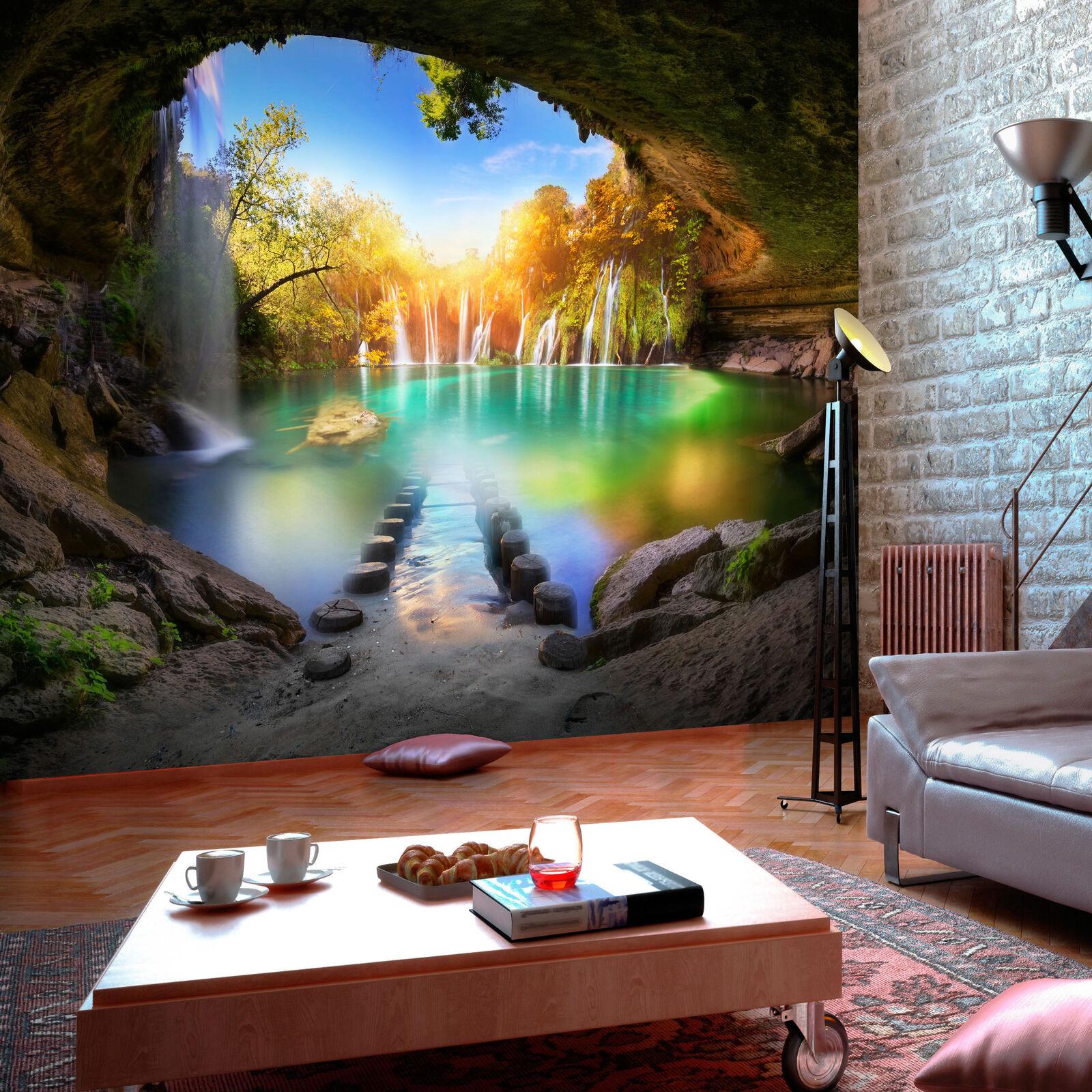 Vlies Fototapete Wasserfall Landschaft Wohnzimmer Tapete