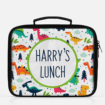 Personalised Dinosaur Dino Boys Lunch Box Lunch Cooler Sandwich School Bag Blue