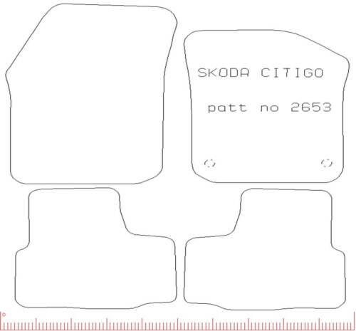 2 Clips 4 pièces sur mesure Voiture Tapis de sol blanc bordure Edge Skoda Citigo 2012 Sur