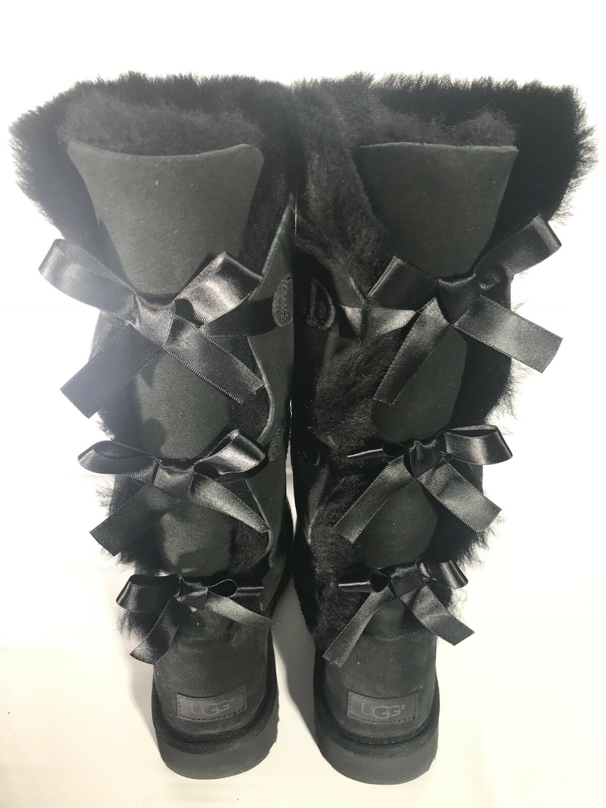 14a9d2896fc UGG Tall Triple Triplet Bailey Bow Black Suede Sheepskin Boots Size 9 US  Women