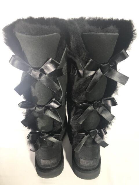 8ac3b1916b2 UGG Tall Triple Triplet Bailey Bow Black Suede Sheepskin Boots Size 9 US  Women