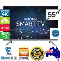 55 Inch Smart 4k Tv Led Television Agora Lcd Uhd Dvd Usb Hdmi Remote Box Cabinet