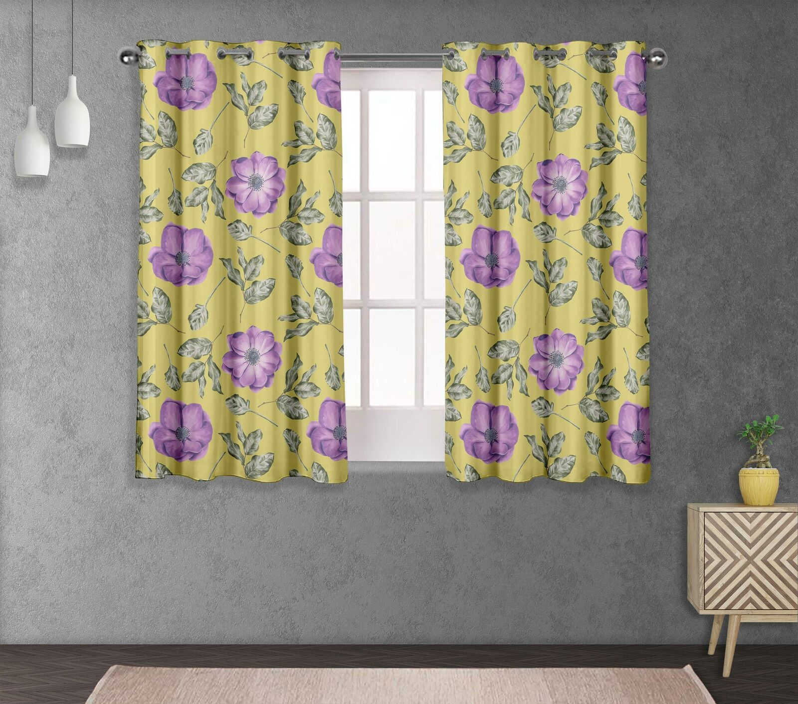 S4sassy Anemone & Camellia Living Room Window short & long Curtain-FL-861H