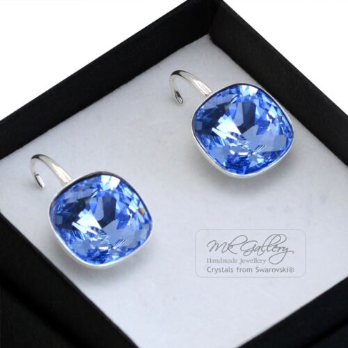 925 pendientes de Plata Cristales de Swarovski ® 10//12MM Fancy Piedra Luz Zafiro