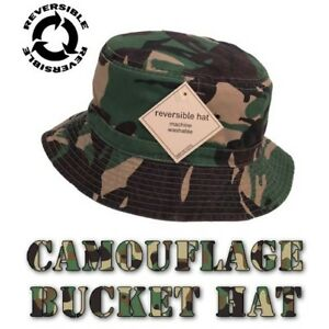 70e2cc53b5c Image is loading Mens-CAMO-BUCKET-HAT-Camouflage-Reversable-Cotton-Army-
