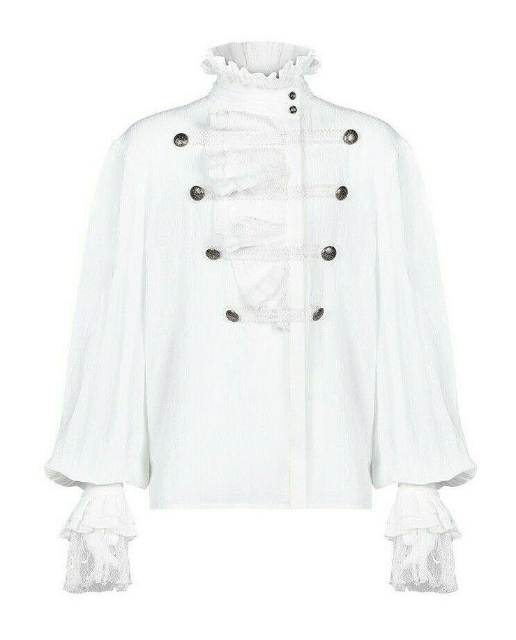 Punk Rave Romantic Victorian Goth Shirt High Collar Partial Lapel WY-1031WH