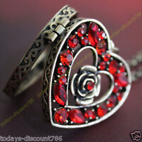 BLACK FRIDAY DEALS - Red Heart Crystal Necklace Locket Xmas Gifts For Her Women