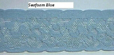 STRETCH LACE 1-1/2 SEAFOAM Blue Green LINGERIE Baby Headbands Waistband 5 yds.