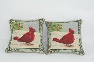 Two-2-Vintage-Red-Cardinal-Bird-Needlepoint-Throw-Pillows-Christmas-Winter